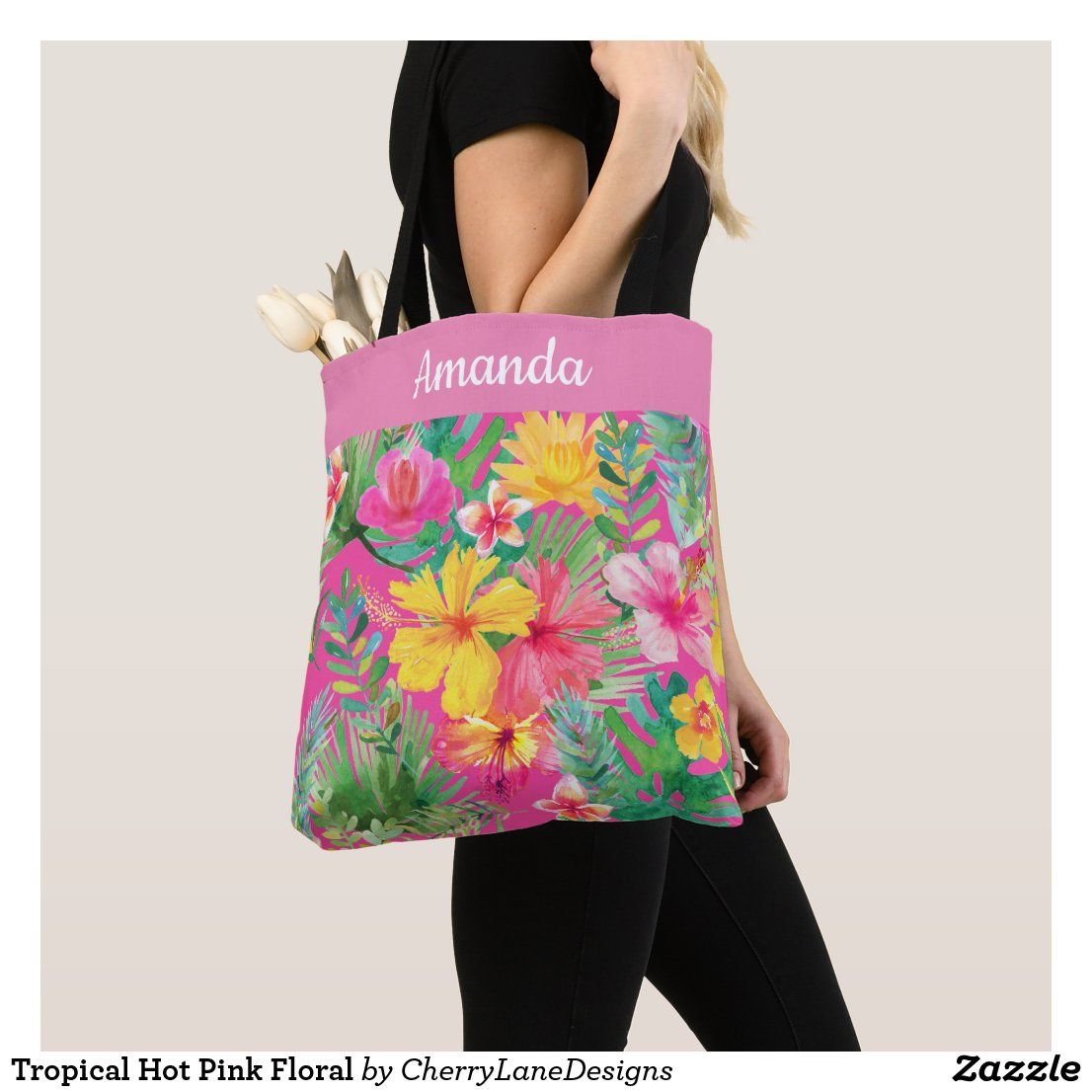 Tropical Hot Pink Floral Tote Bag Zazzle Co Uk In 2020 Hot Pink Floral Pink Floral Hot Pink