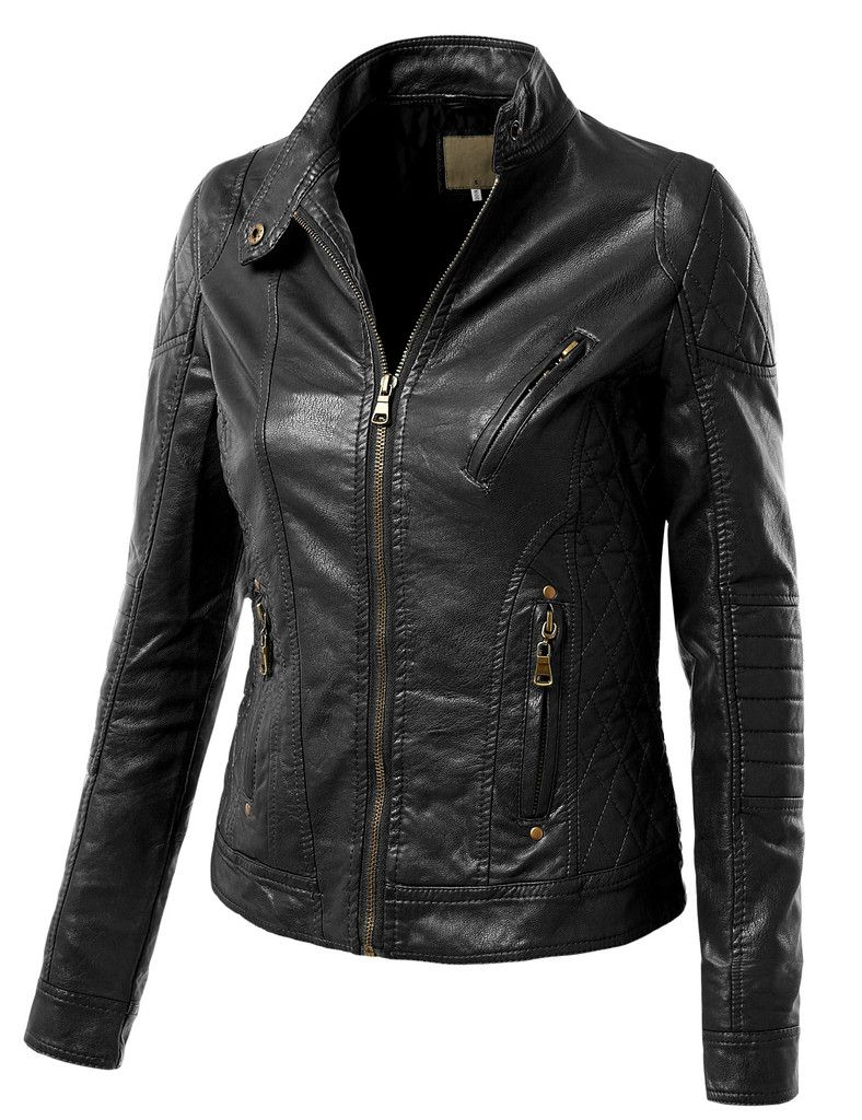 Le3no Womens Faux Leather Quilted Zip Up Moto Biker Jacket With Stitching Detail Faux Leather Jacket Women Jackets Moto Biker Jacket