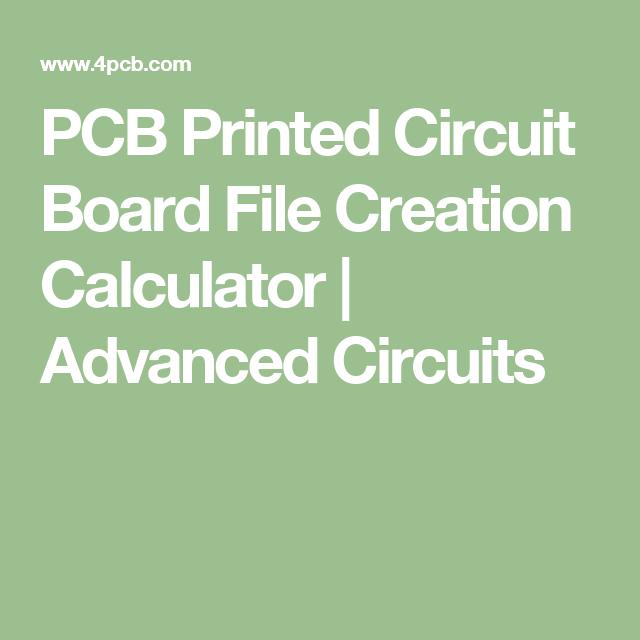 PCB Printed Circuit Board File Creation Calculator   Advanced