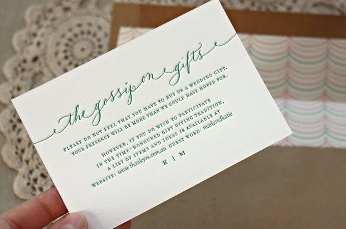 Wedding Invitation Gifts: Cute Wording For A Registry Card (by Bespoke Press