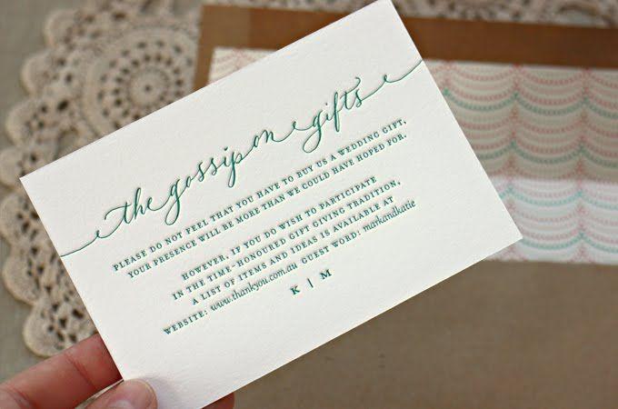 Cute Wording For A Registry Card By Bespoke Press