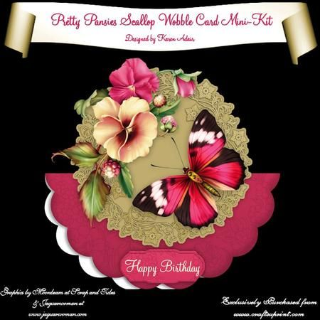 """This two sheet mini-kit will make this beautiful, large scallop wobble card. The kit contains a card, approximately 8"""" in diameter, and plenty of decoupage. The kit also includes 6 sentiment tags, one of which I have left blank so that you can personalise if you wish."""