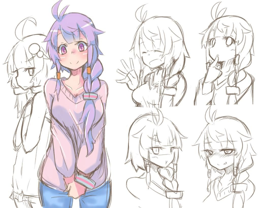 ずいぶん前に描いたゆかりお母さん(妄想)もっかい描いてみた 今度はいろいろ表情も描いてみたけど安定しなかったんじゃw