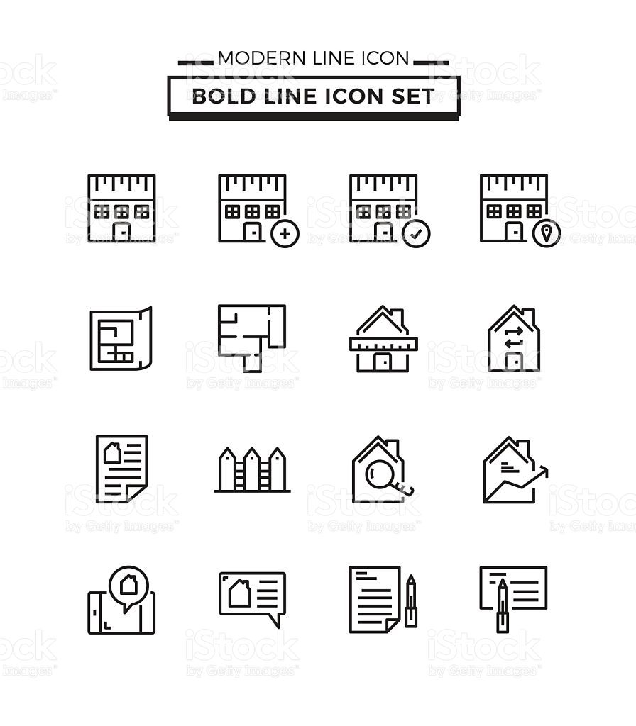 Bold lines icons set of Real Estate royalty-free stock