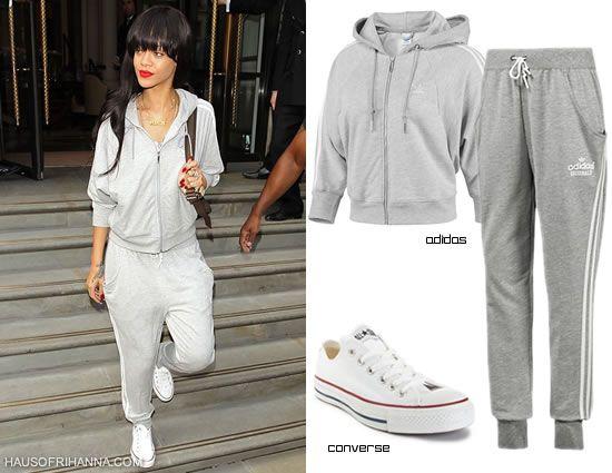 2b56bff42075 Rihanna In Adidas Hoodie And Track Pants