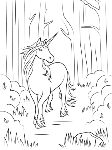 forest unicorn coloring page from