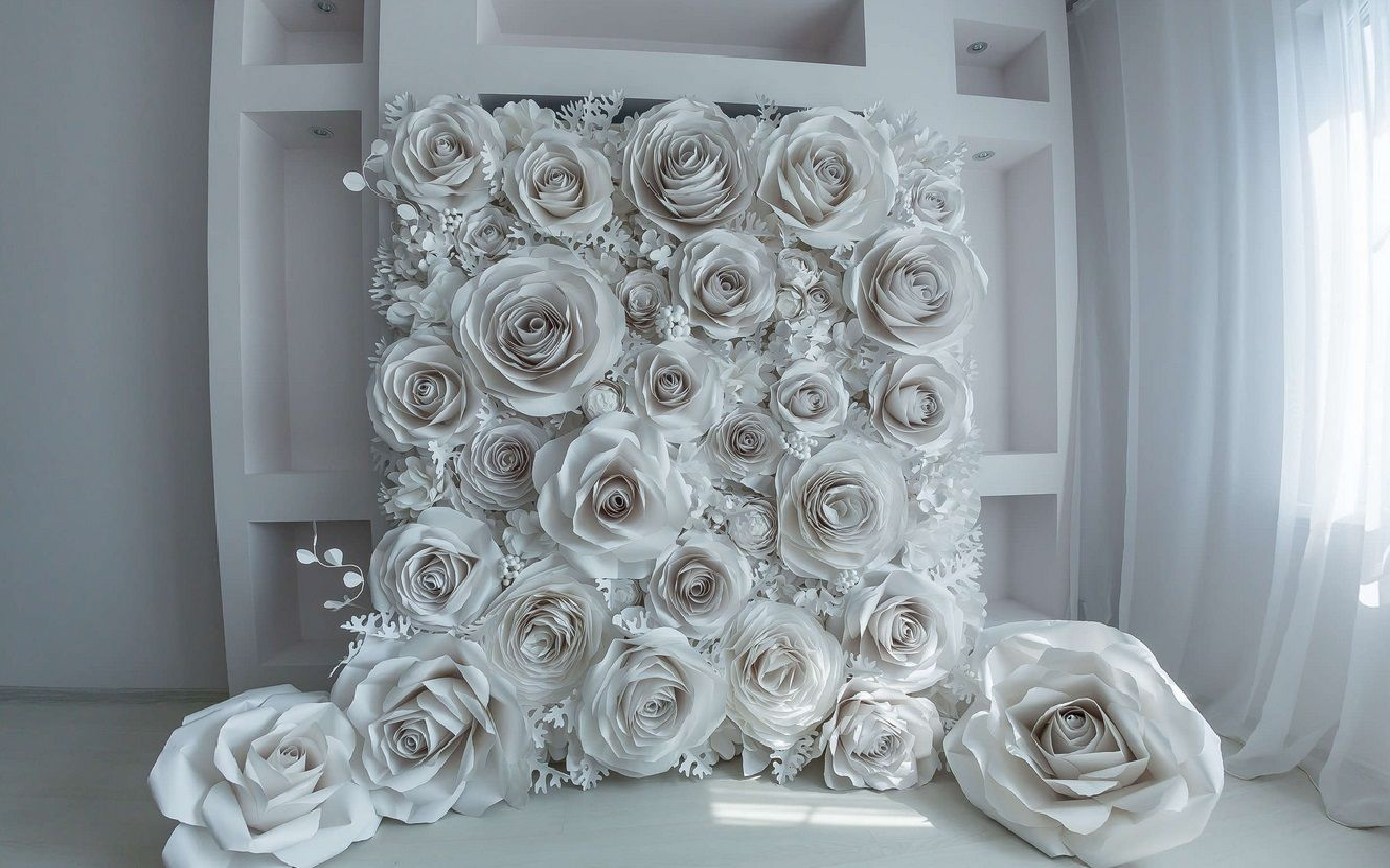 Paper flowers backdrop wedding  Karimah and Kevin wedding ideas