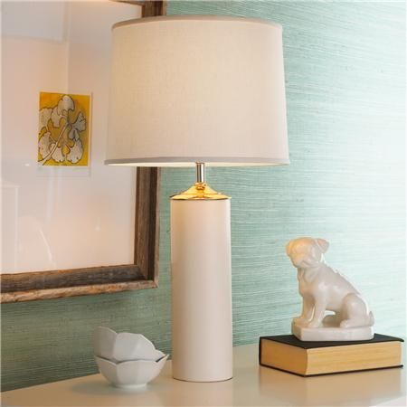 42396ec13131 Shades of Light Modern Cylinder Ceramic Table Lamp in White Product SKU:  TL12089 WH