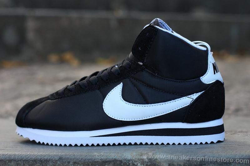 on sale 1f1d6 02499 2016 Latest Selling Nike Cortez Womens High Tops Shoes Black White Logo  Online shop