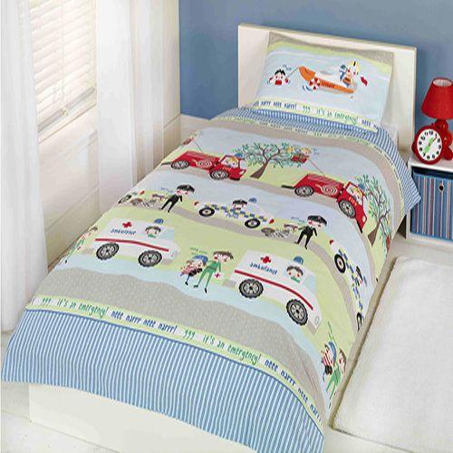 emergency vehicle boys single bedding set ambulances trucks and police cars