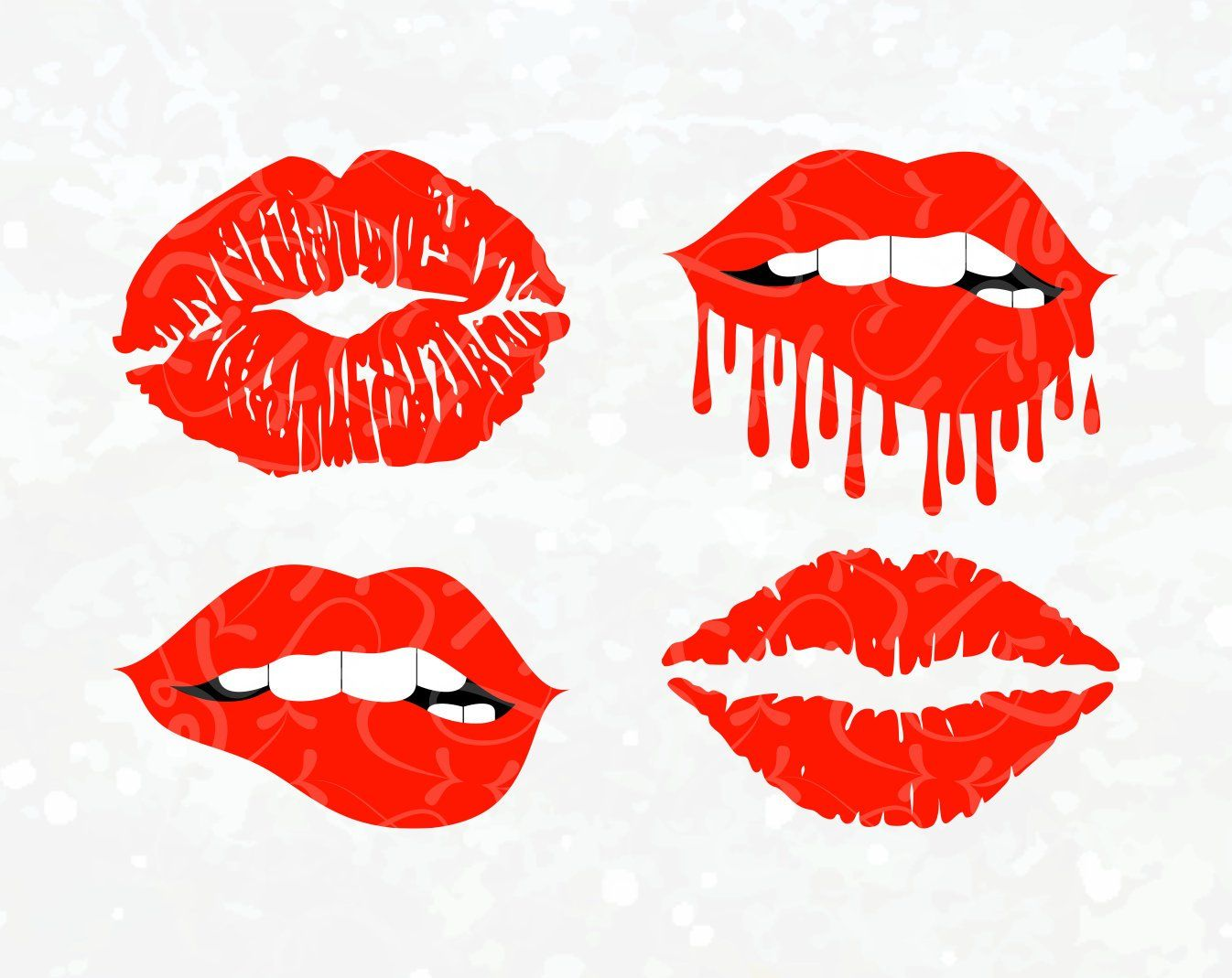 Mouth SVG Dripping Lips SVG Biting Lips SVG Red Lips