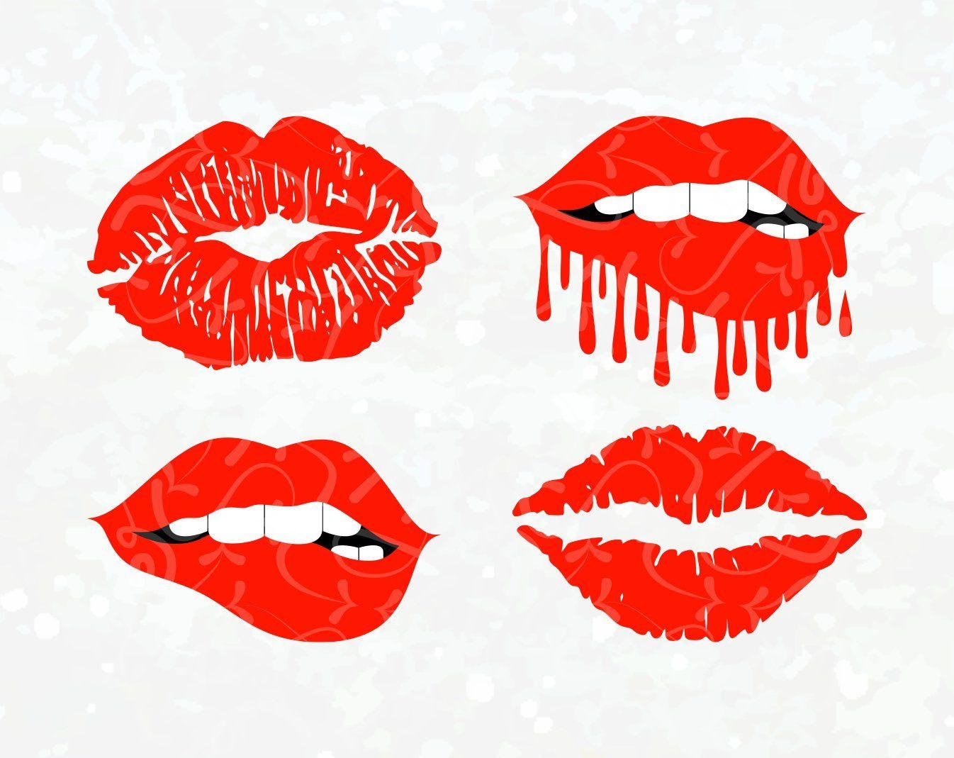 Mouth Svg Dripping Lips Svg Biting Lips Svg Red Lips Fashion Lips