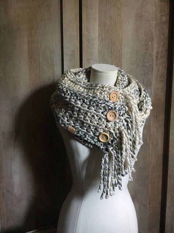 Fringe Wood Button Double Loop Cowl Loop Scarf Infinity | crochet ...