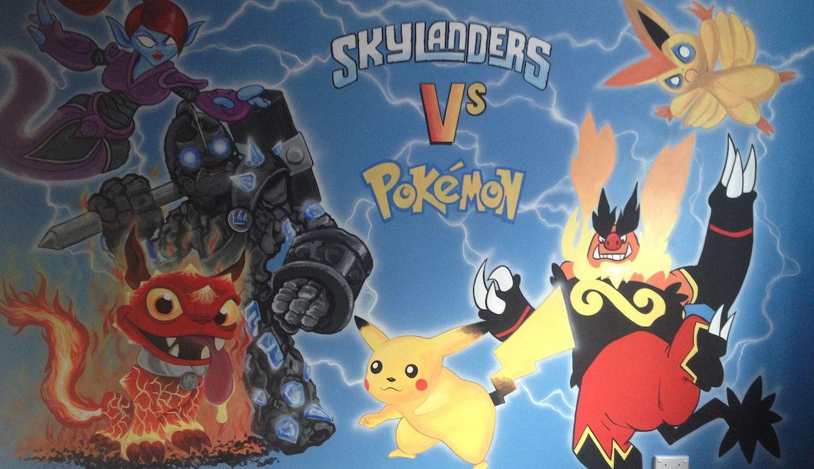Skylanders Pokemon Kids Bedroom Mural Jpg 1180 680 Room