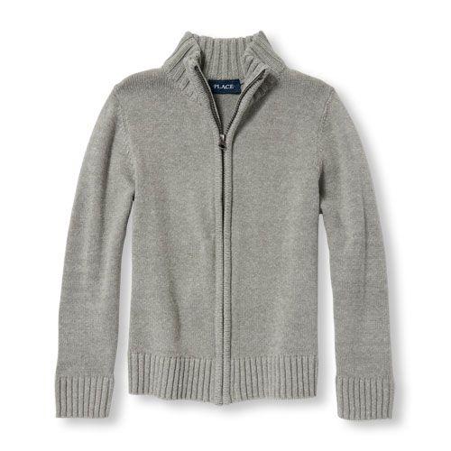 The Childrens Place Boys Zip Front Uniform Sweater