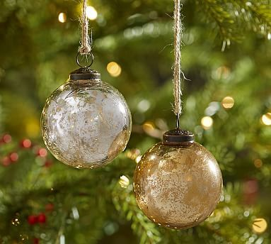 Silver  Gold Mercury Glass Ball Ornaments - Set of 6 #potterybarn