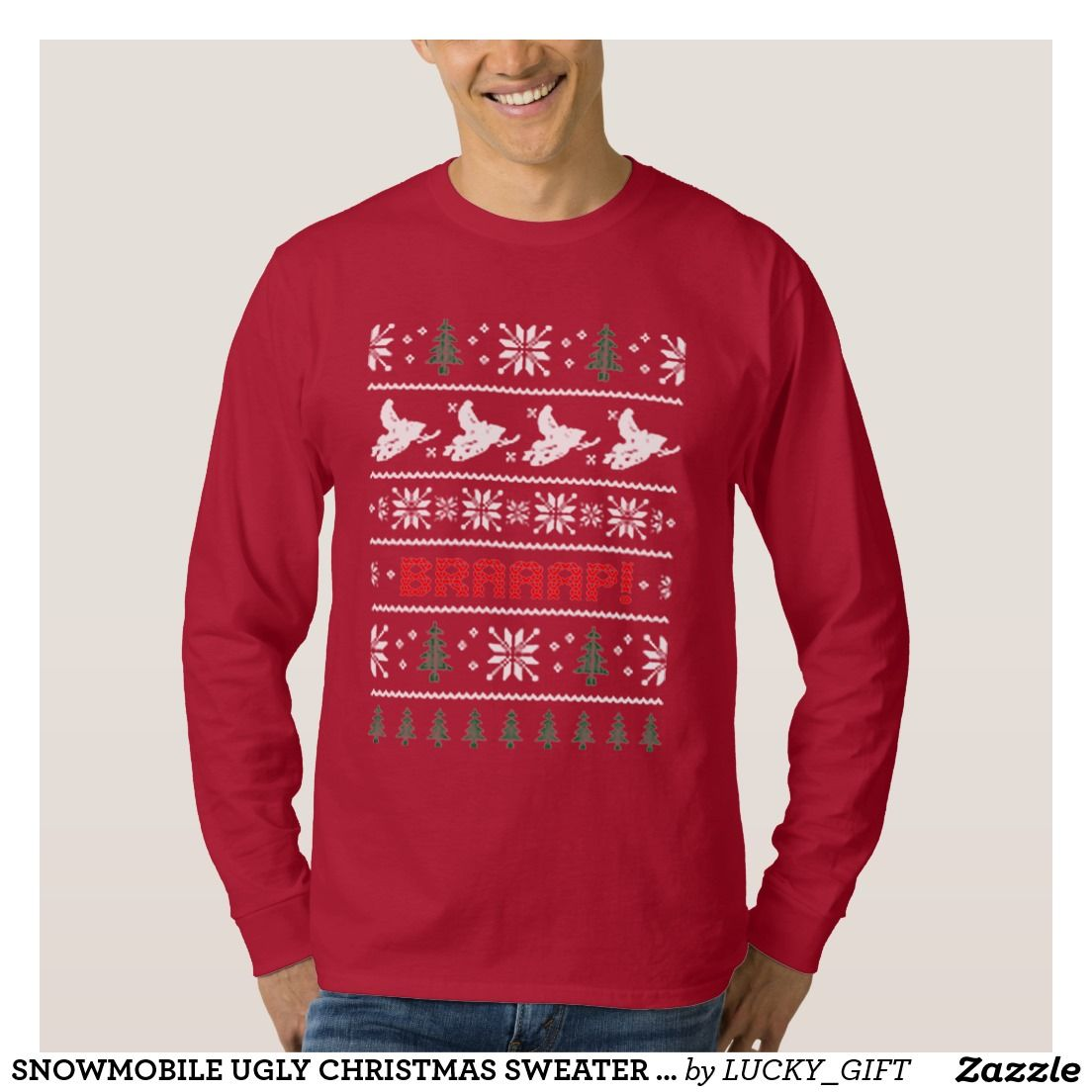 SNOWMOBILE UGLY CHRISTMAS SWEATER PATTERN TEE SHIRTS