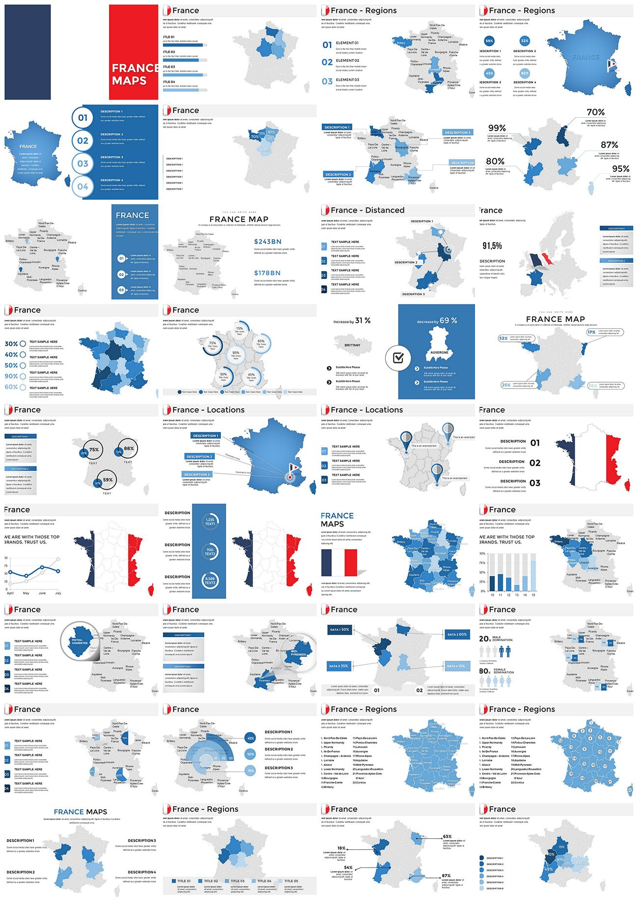 France Powerpoint Maps Templates