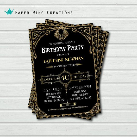 Roaring 20s Invitation Party Invite Birthday Invitation Event – Art Deco Party Invitations