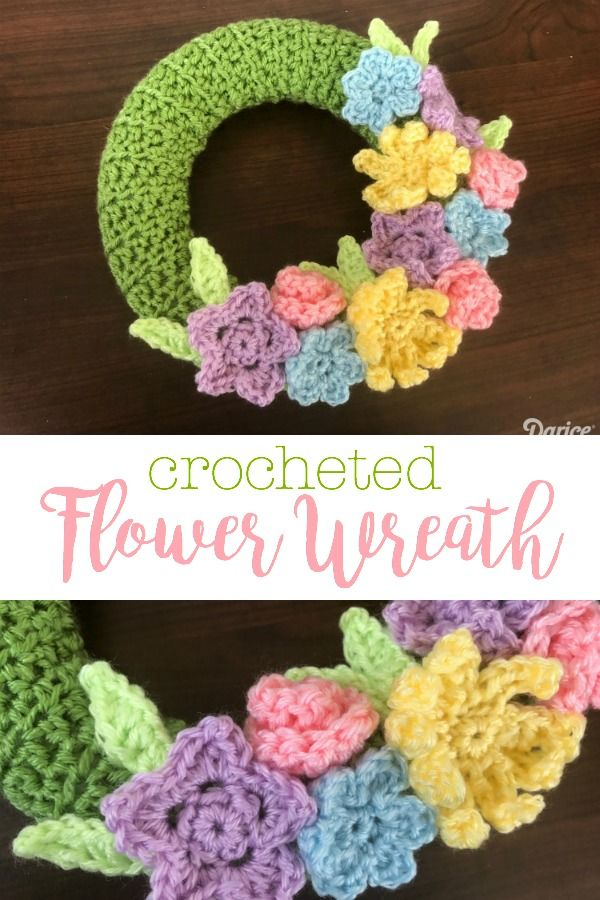 Photo of Crocheted wreath of flowers