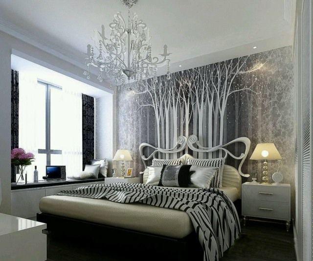 Décoration chambre adulte de design vintage moderne | En noir ...