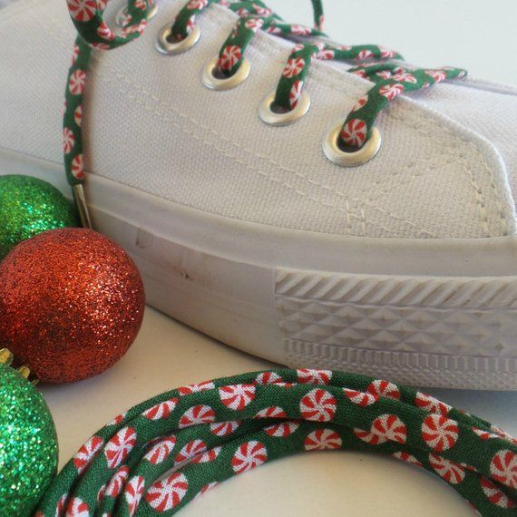 Shoelaces For Christmas.Shoelaces Covered In Peppermint Patterns Perfect For