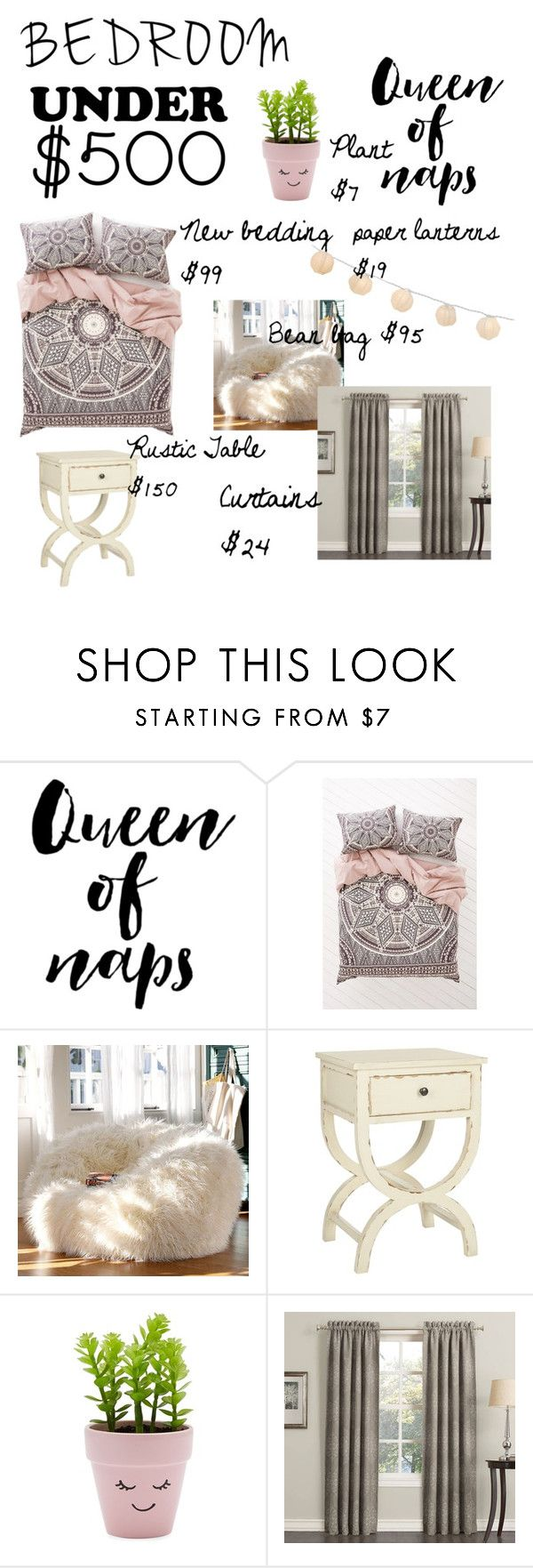 """Bedroom update under $500"" by saharahara-youtube ❤ liked on Polyvore featuring interior, interiors, interior design, home, home decor, interior decorating, Magical Thinking, PBteen, Safavieh and New Look"