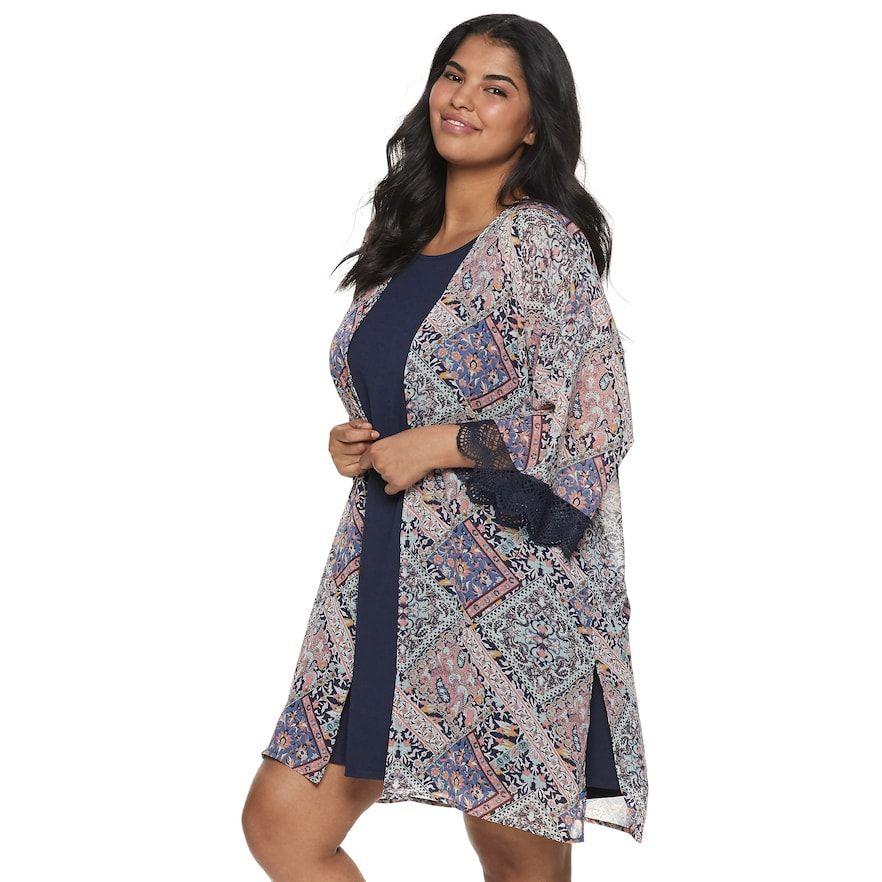 Juniors\' Plus Size WallFlower Solid Dress & Printed Kimono ...