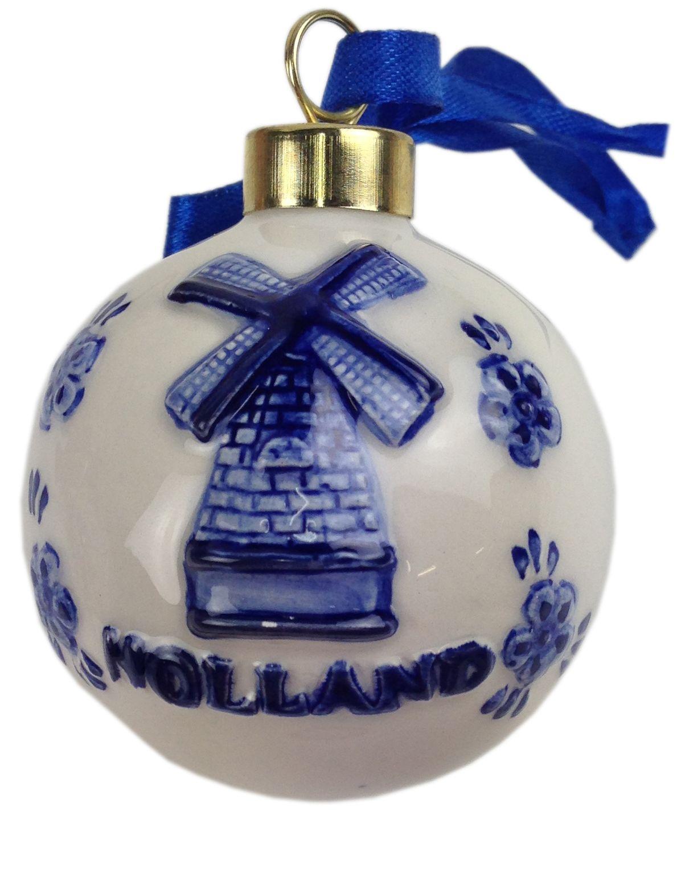 Asian christmas ornaments - Delft Blue Christmas Bauble Dutch Windmill