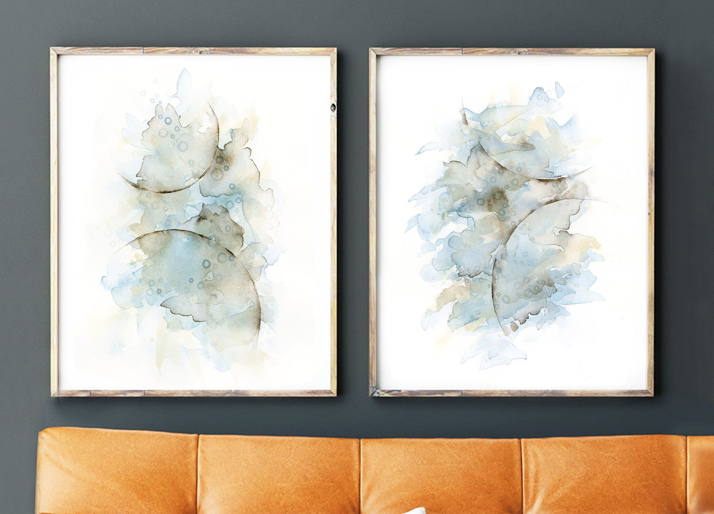 Diptych Abstract Painting Set Of 2 Prints Blue Grey Brown Artwork For Walls Living Room Wa Diptych Wall Art Modern Art Paintings Abstract Modern Art Abstract