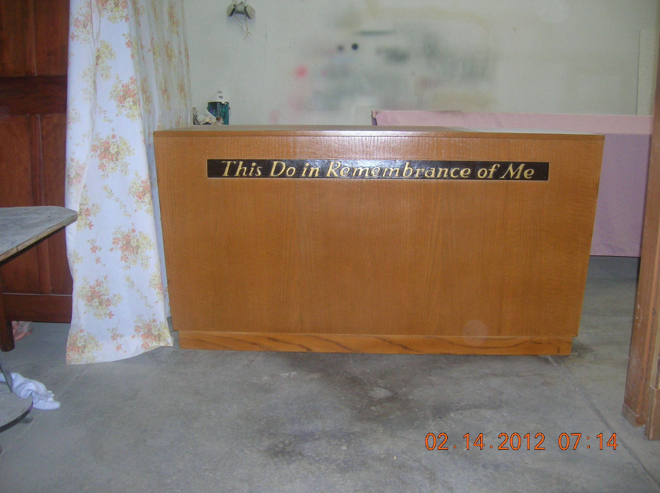 Furniture Repair · Picture Of Our Communion Table That We Competely  Restored And Refinished For Our Church.