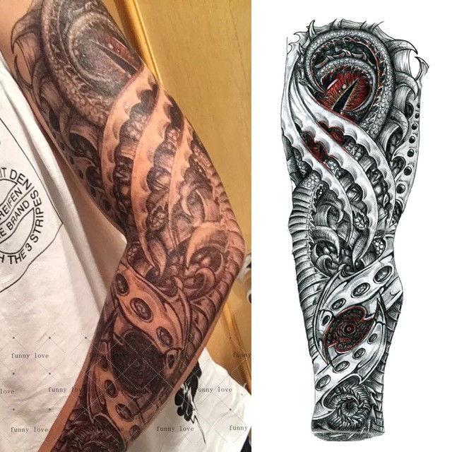 Full Arm Dragon Eye Temporary Tattoo Sleeve Stickers Body Art 3d Waterproof Tato Tangan Tato