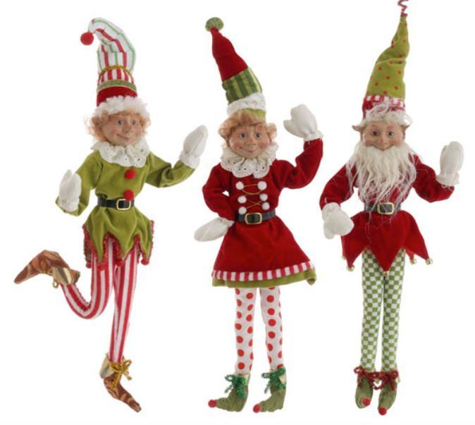 Large Selection Of Raz Imports Decorations Ornaments And: RAZ Imports 21 Inch Posable Elves Elf Set Of 3 Red Green