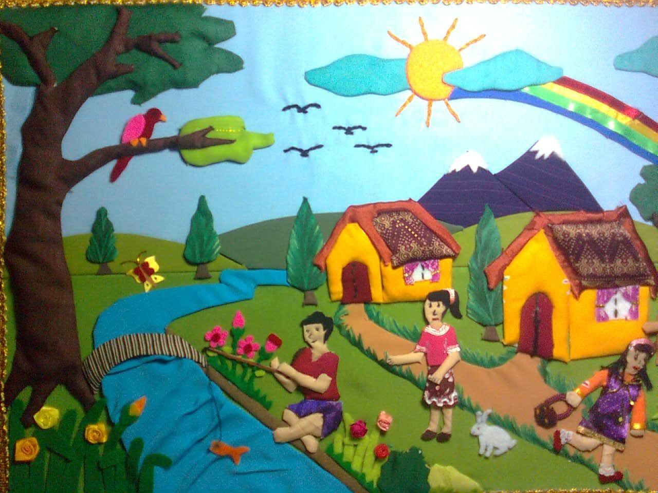 Karya Ku Dari Kain Perca Yang Menceritakan Keluarga Dilingkungan | Kolase,  Gambar, Pemandangan