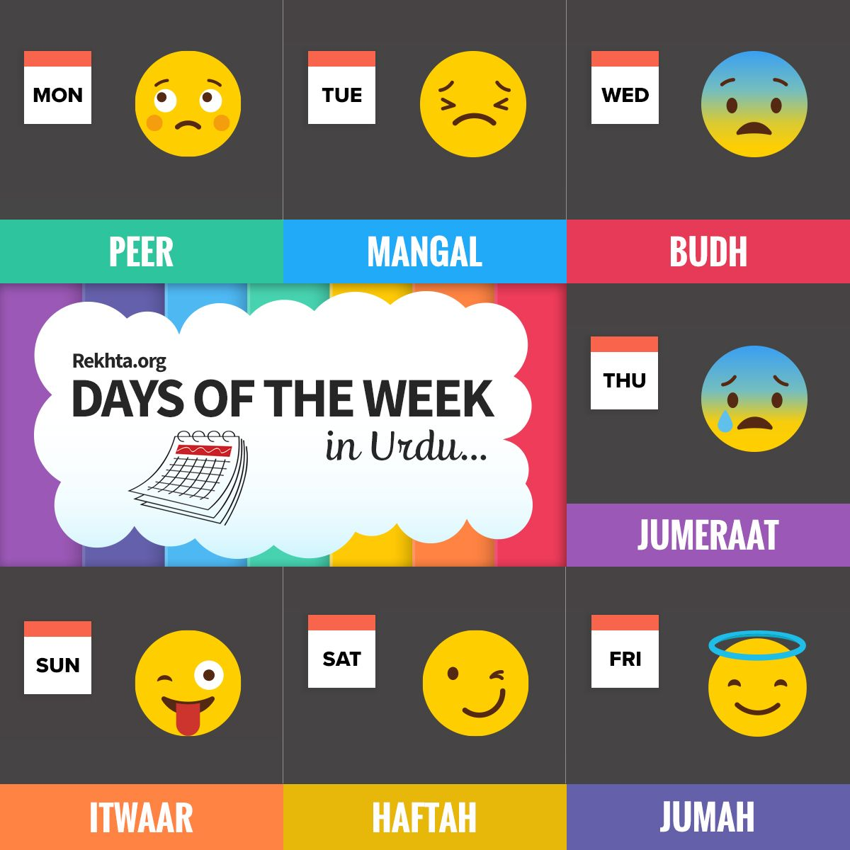Days of the Week in Urdu Urdu love words, Urdu words