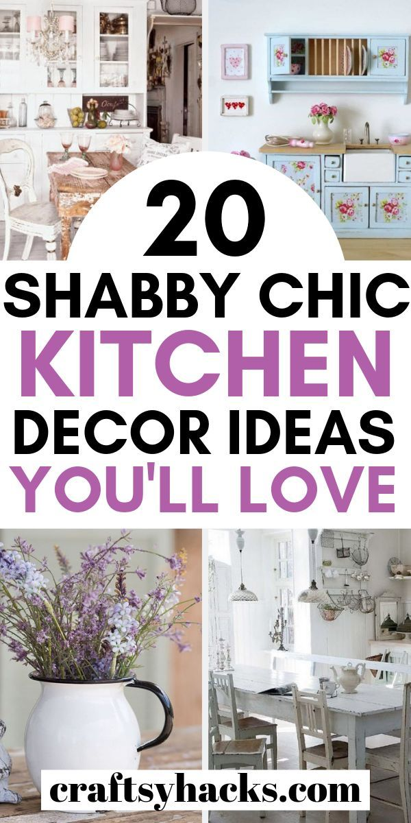 Try these shabby chic decor ideas and decorate kitchen in the rustic style. Enjoy these rustic decor hacks. #kitchen #kitchendecor #shabbychic