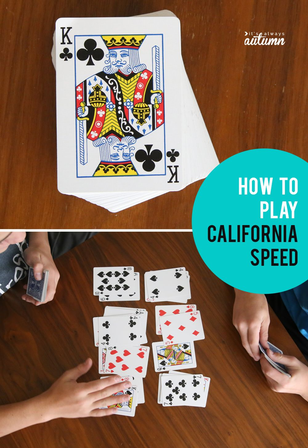 How To Play California Speed Easy Card Game It S Always Autumn Card Games For Kids Fun Card Games Family Card Games