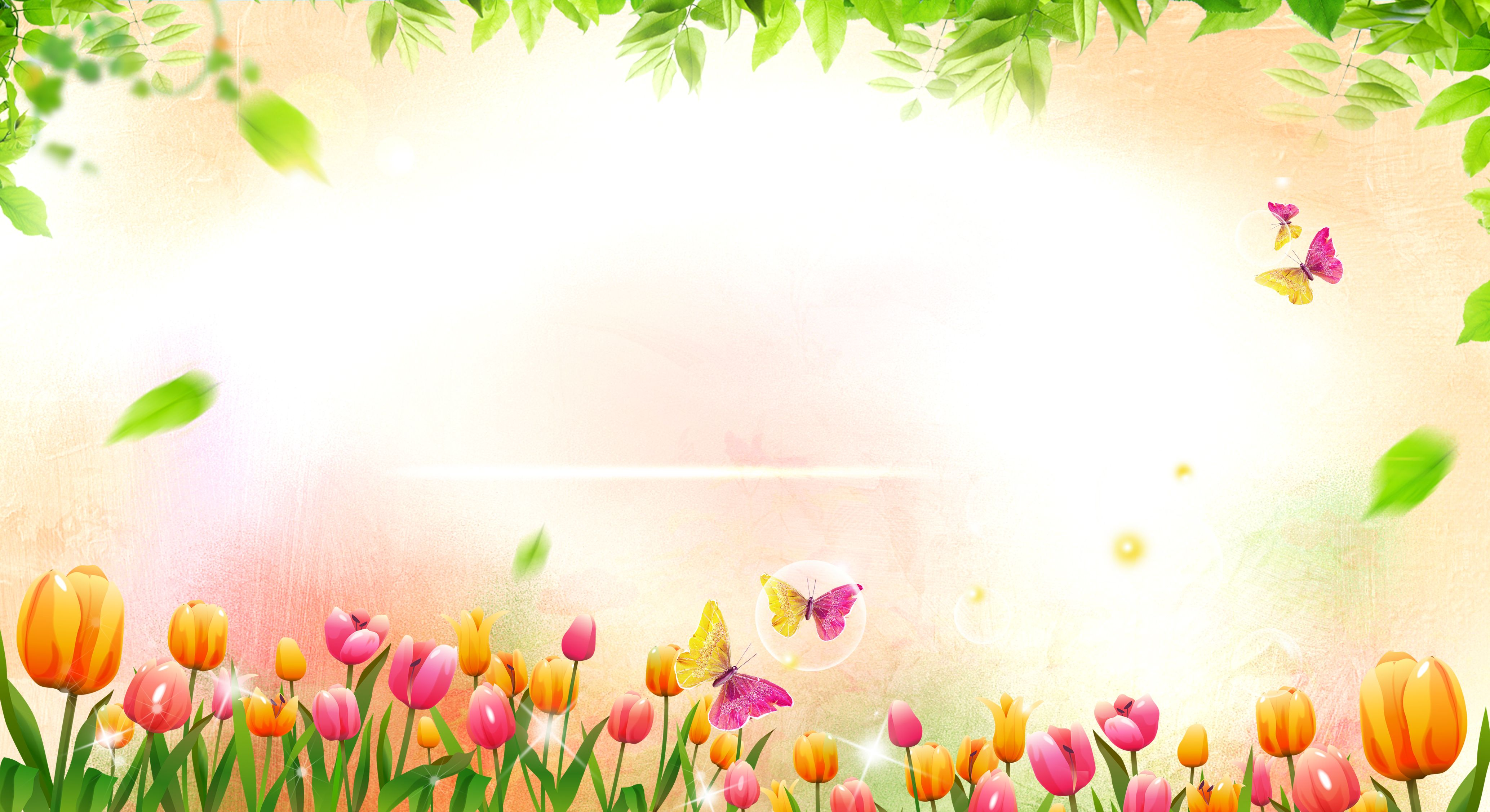 Romantic Pink Flowers Background Material Flying Butterfly