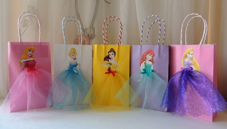 10 Pieces Disney Princess Birthday Goody Favor Glitter Tutu Bags Thank You Tags Cinderella Belle Rapunzel Ariel Little Mermaid Aurora
