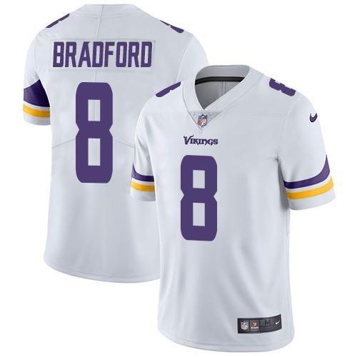 Chiefs Travis Kelce 87 jersey Nike Vikings  8 Sam Bradford White Men s Stitched  NFL Vapor 2e64724f9