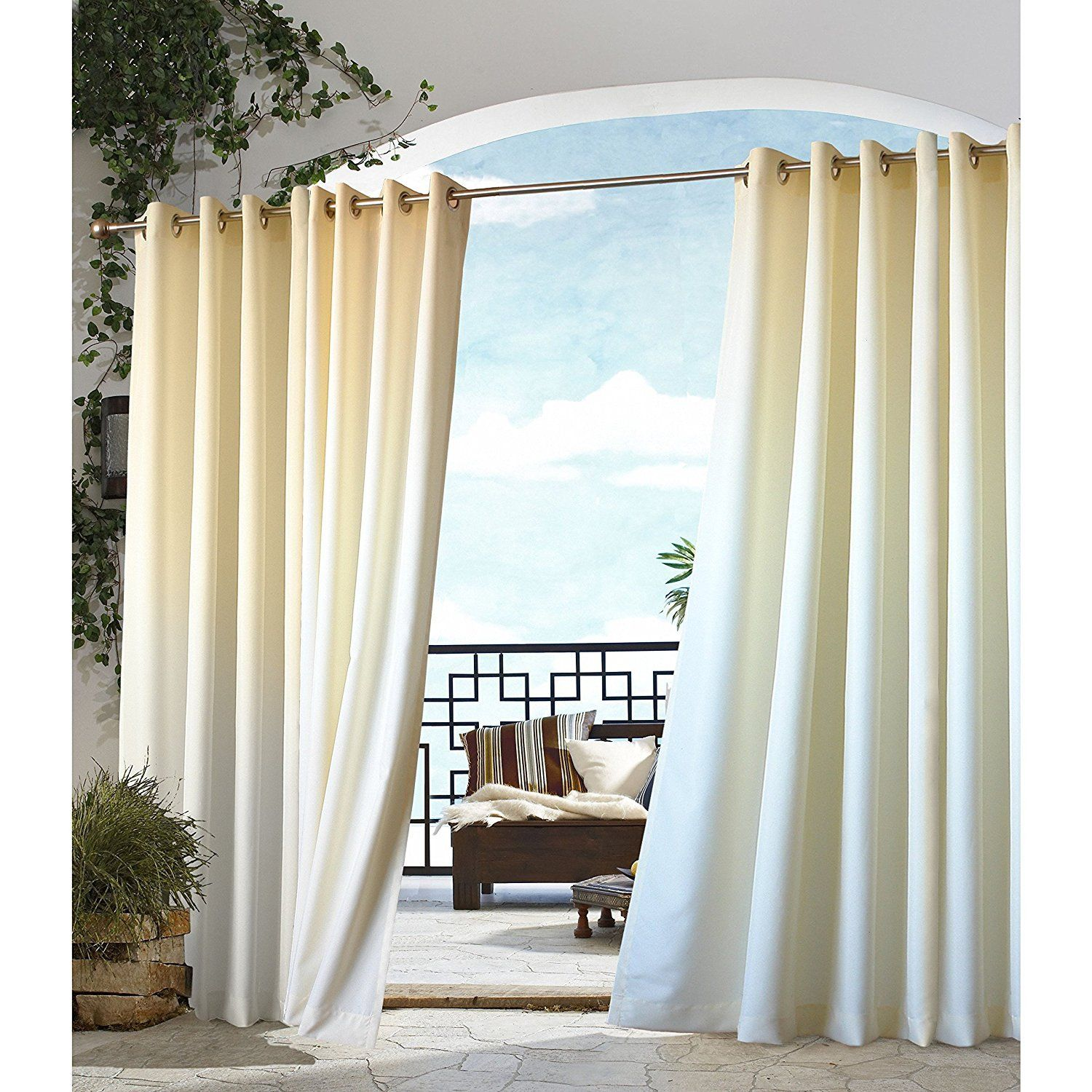 84 Inch Outdoor Natural Gazebo Curtain Light Yellow Color Outside Window Treatment Single Indoor Patio Porch