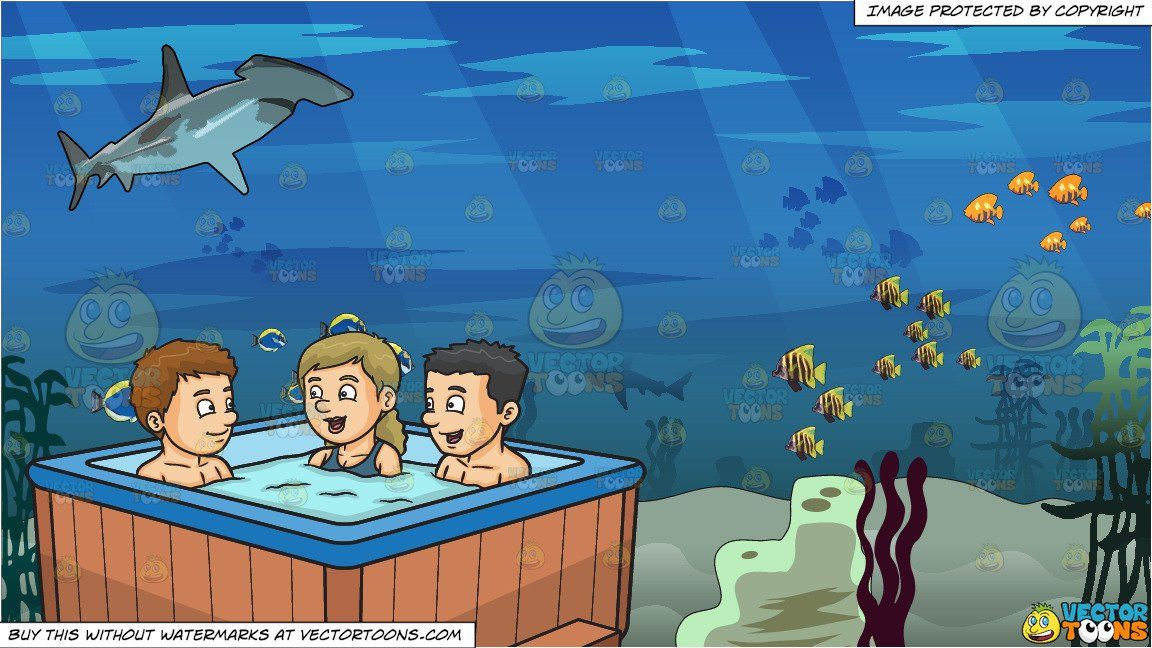 Clipart Cartoon Two Guys And A Girl Chatting While Dipping In The
