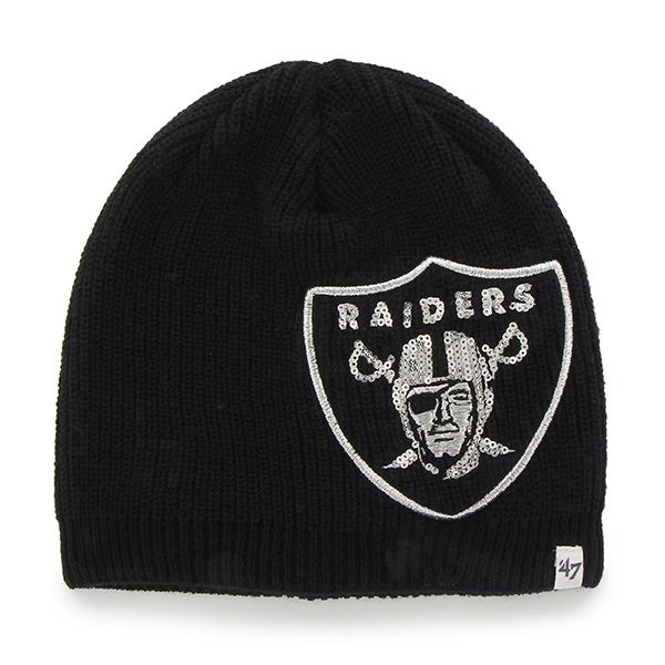 Oakland Raiders Sparkle Beanie Black 47 Brand Womens Hat  05093840d2