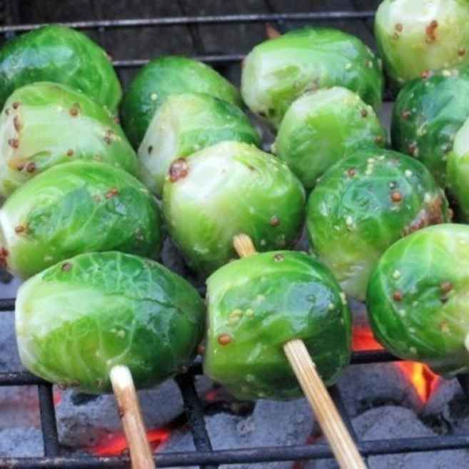 Healthy Camping Food Ideas Recipes: Grilled Brussels Sprouts With Whole Grain Mustard