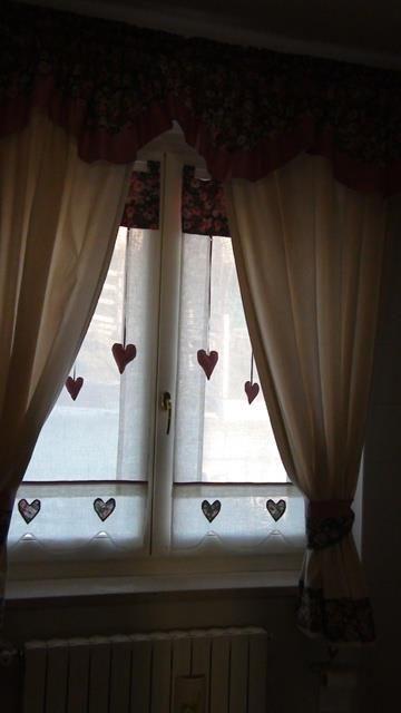 Tenda romantic Country con cuori realizzati artigianalmente | Tende ...