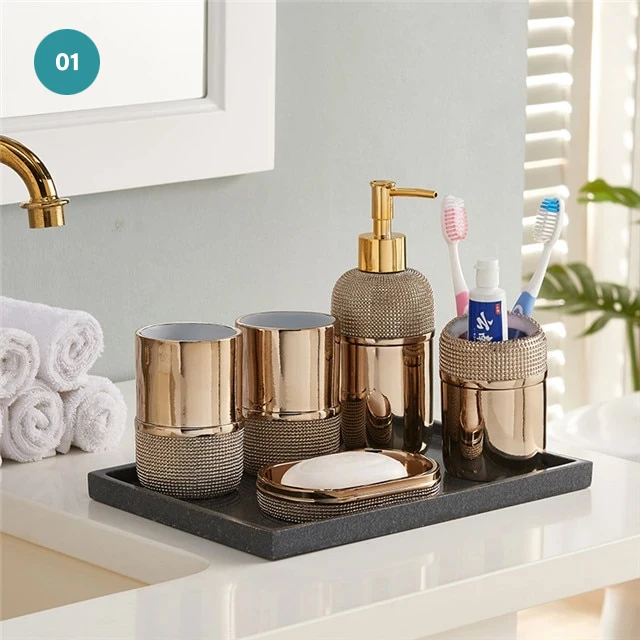 Modern Bathroom Accessories Resin Bronze Silver Soap Dispenser Toothbr In 2021 Bathroom Accessories Modern Bathroom Accessories Bath Kit