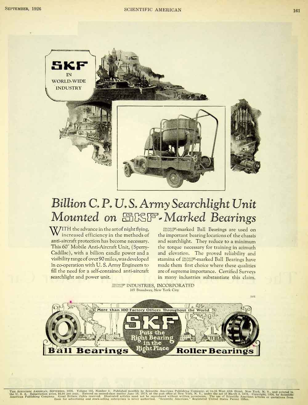 1926 AD SKF Ball Roller Bearings Industrial U S Army Searchlight Anti SCA5 | eBay