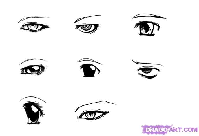 How to draw different manga eyes step by step anime eyes anime