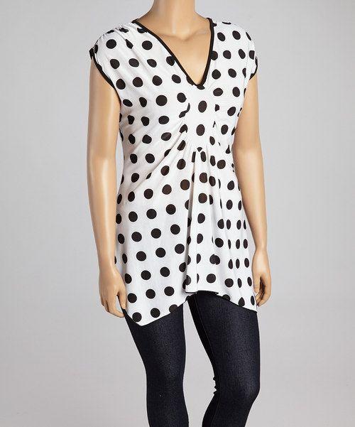 White & Black Polka Dot  V-Neck Top - Plus by ARIA FASHION USA #zulily #zulilyfinds