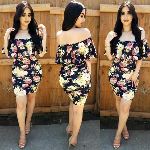 Floral Wave (Navy/Yellow) Midi Dress